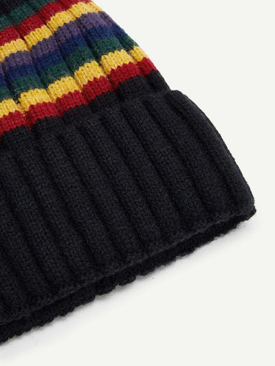 Color Block Striped Beanie Hat - Hats & Gloves