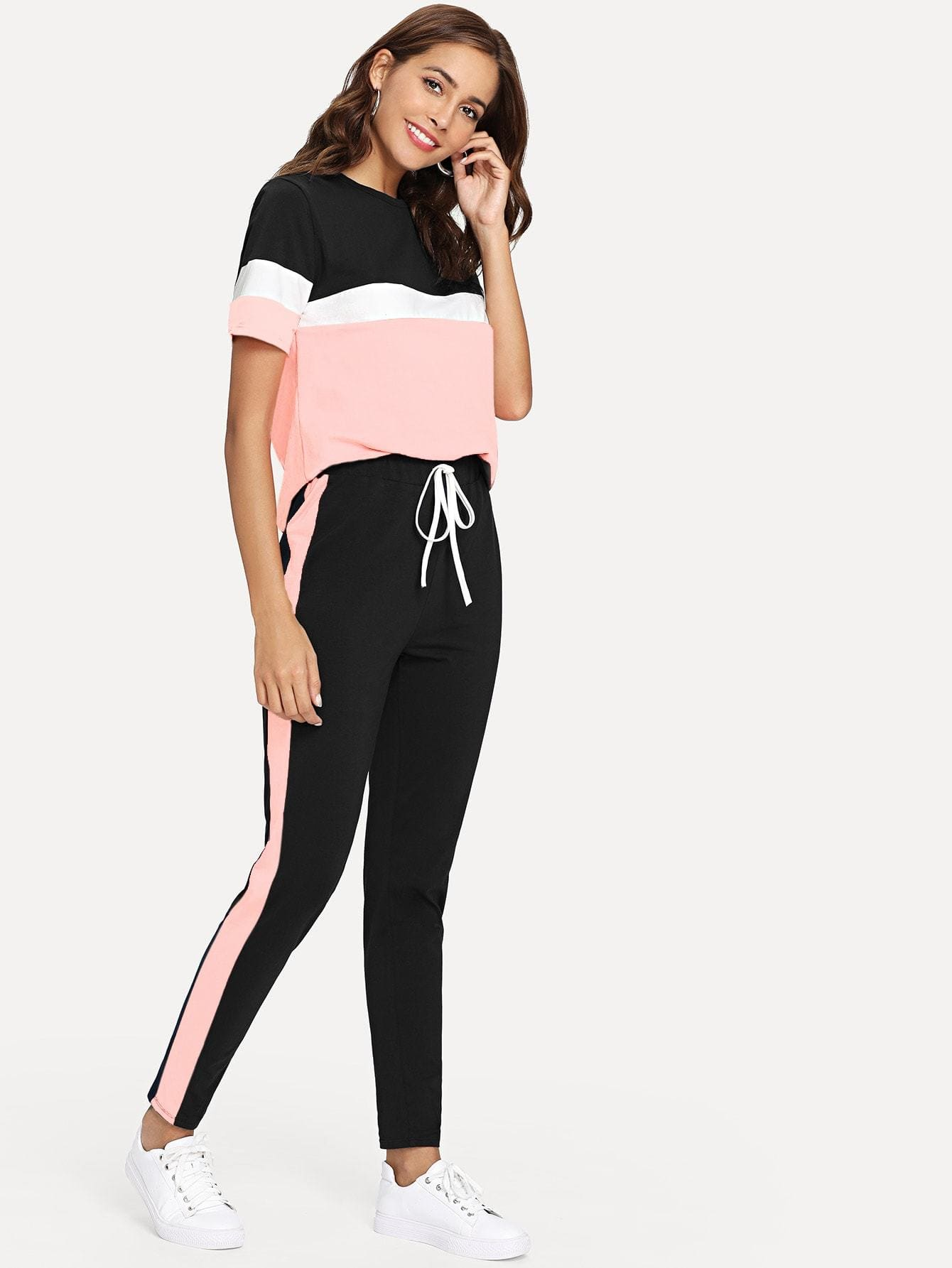 Color Block Tee & Drawstring Tape Pants Set - Sportsuit