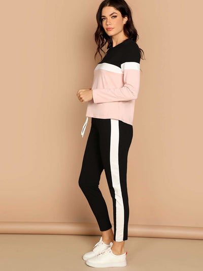 Color-Block Top & Pants Set - Sportsuit