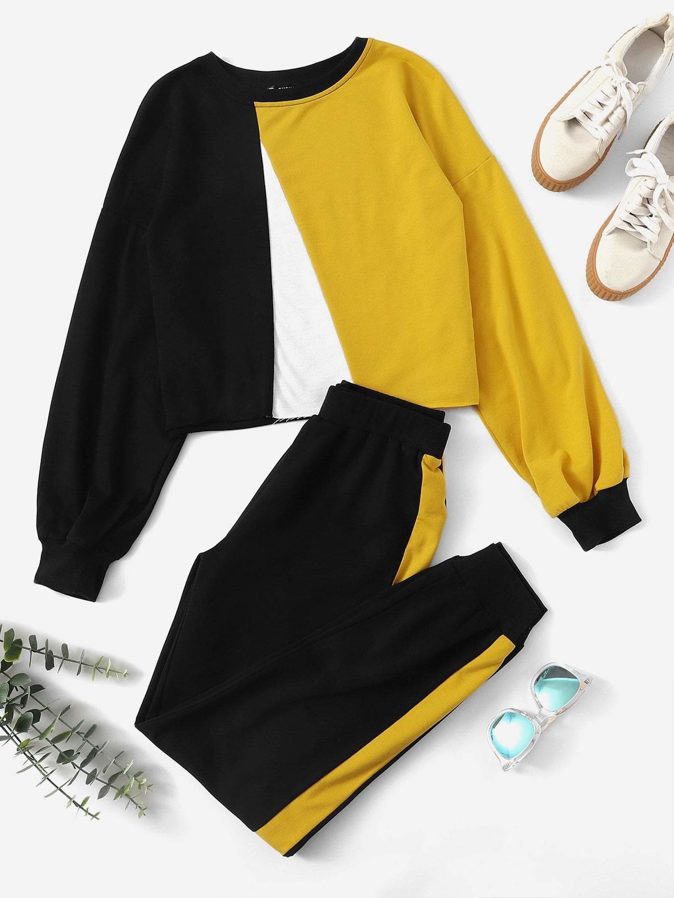 Colorblock Pullover And Contrast Sideseam Sweatpants Set - Sportsuit