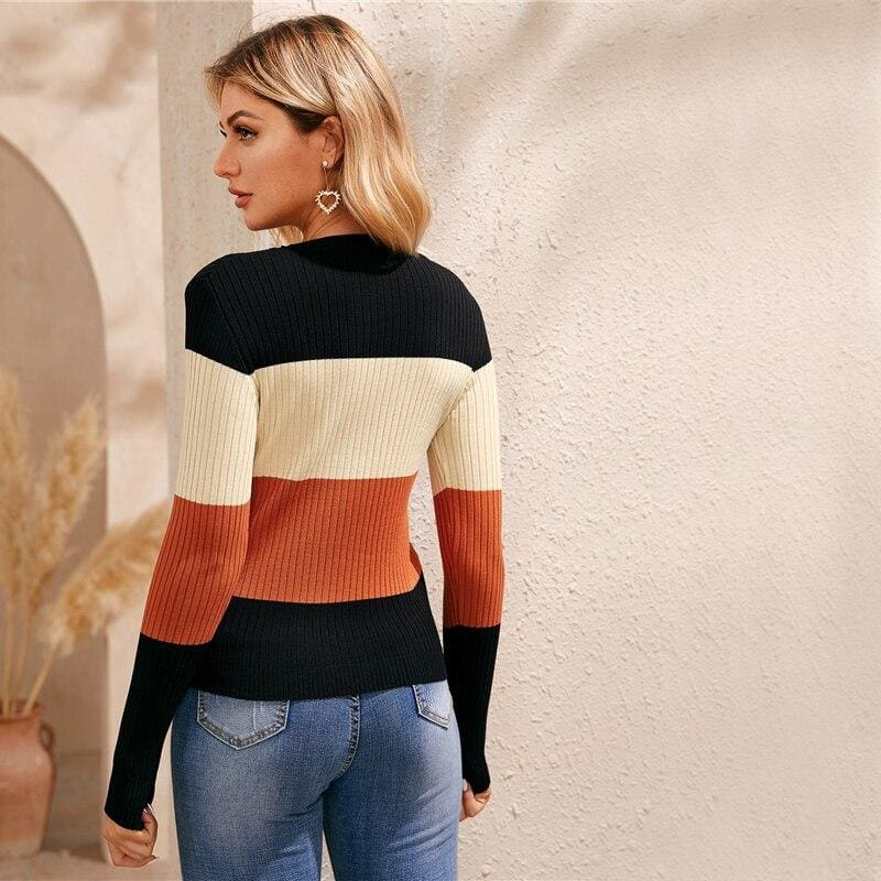 Colorblock Rib Knit Skinny Sweaters
