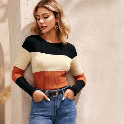 Colorblock Rib Knit Skinny Sweaters - Multicolor-1 / M - Hoodies & Sweatshirts
