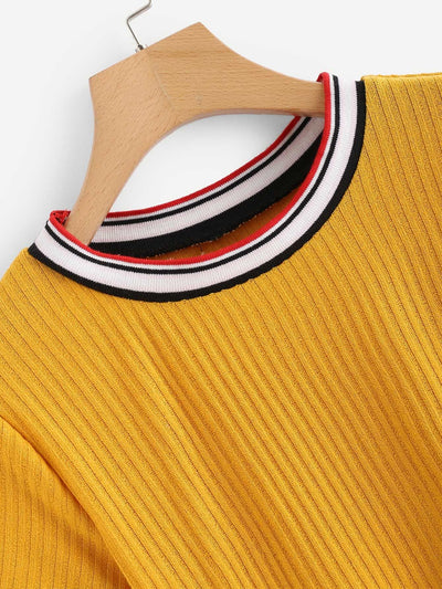 Colorful Striped Cuff Tee - Crop Tops
