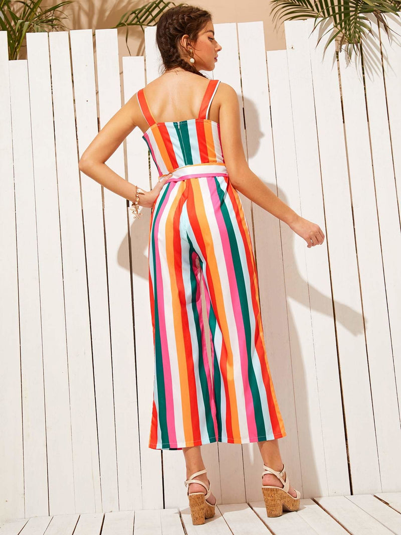 Colorful Striped Self Tie Strap Jumpsuit - S - Womens Jumpsuits
