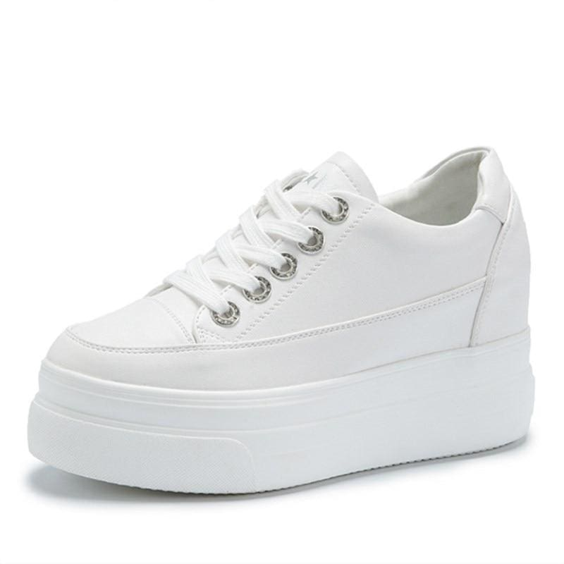 Comfortable Breathable PU Platform Sneakers - White / 5 - Womens Sneakers