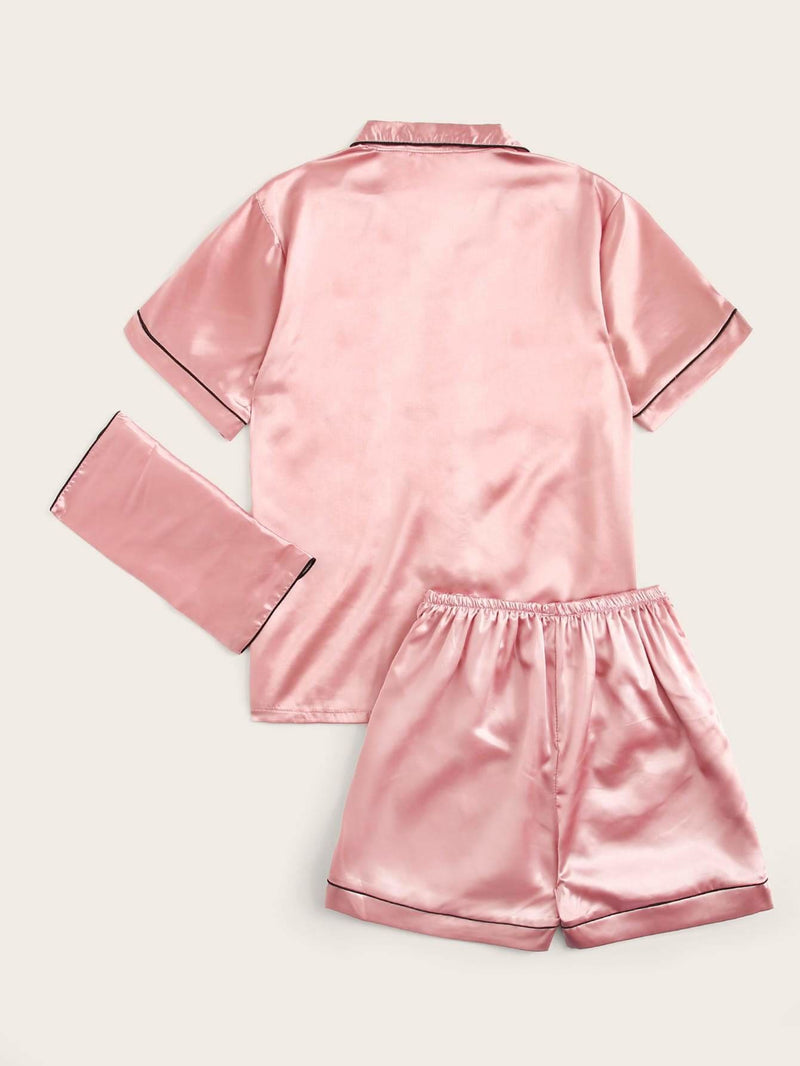 Contrast Binding Satin Pajama Set With Purse - XS - Nightwears