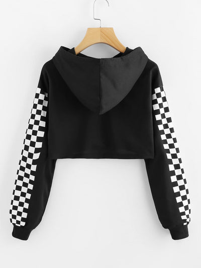 Contrast Checked Sleeve Crop Hoodie - Gym Tops
