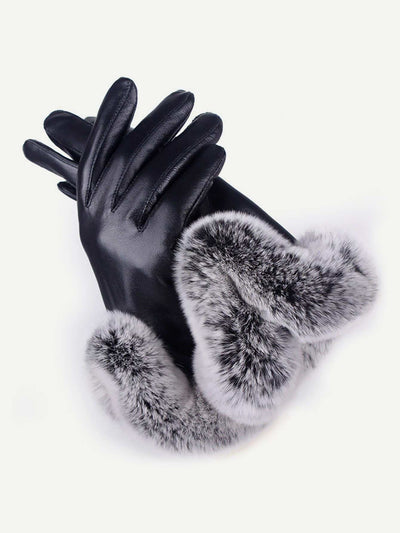 Contrast Faux Fur Gloves - Hats & Gloves