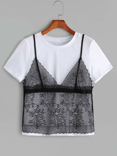 Contrast Floral Lace Cami Overlay Festival T-shirt - Shirts