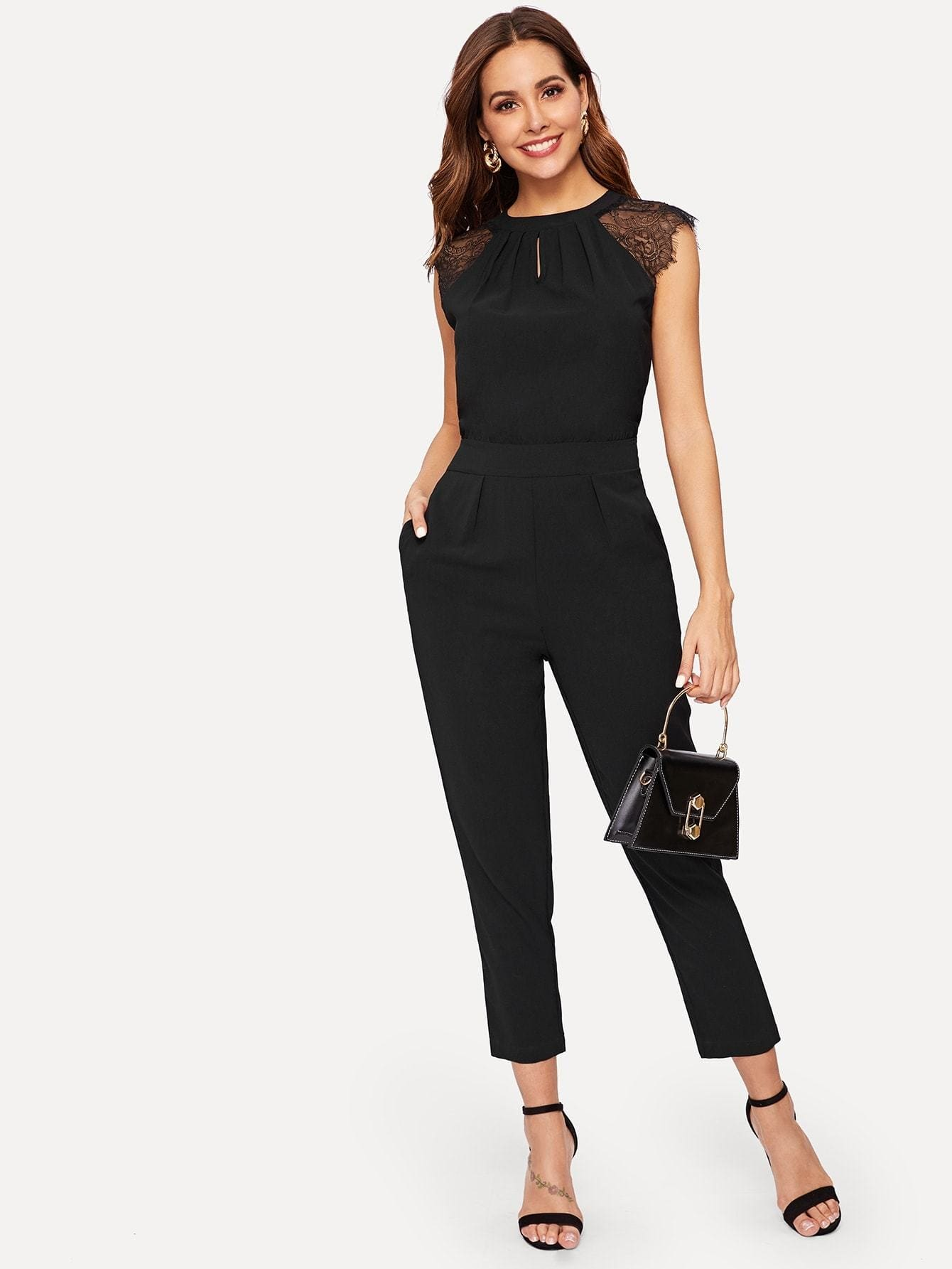 Contrast Lace Cuff Pleated Jumpsuit - S / Black - Womens Jumpsuits