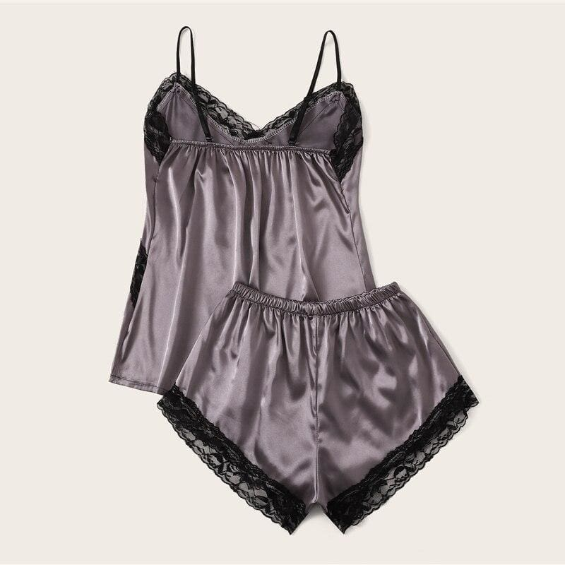 Contrast Lace Satin Cami PJ Set - Multi / L - Nightwears