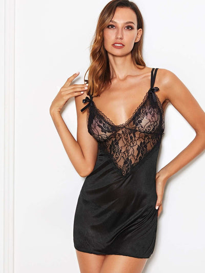 Contrast Lace Satin Slips With Thong - Nightwears