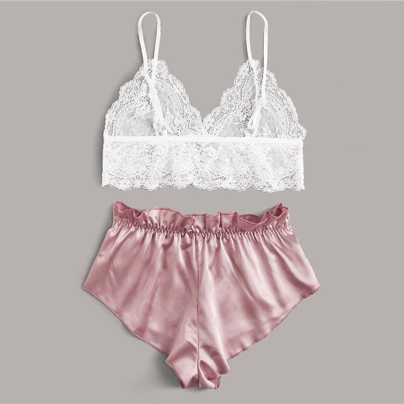 Contrast Lace Sheer Bralette With Satin Shorts