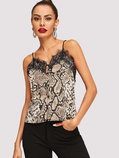 Contrast Lace Snake Pattern Cami Top - Shirts