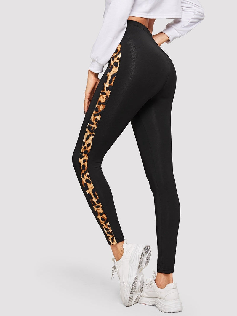 Contrast Leopard Tape Leggings - Fittness Leggings