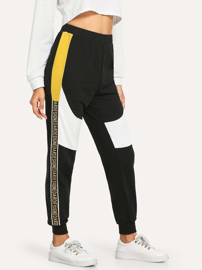 Contrast Letter Tape Cut And Sew Sweatpants - Fittness Leggings