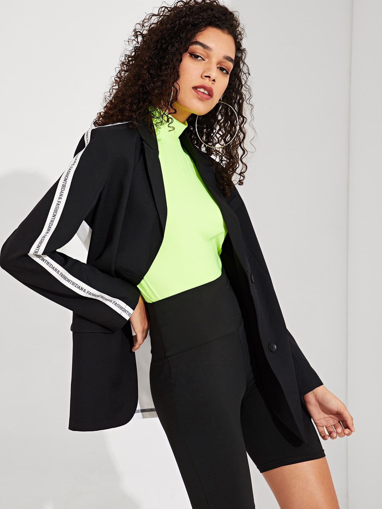 Contrast Letter Tape Two Tone Blazer - Gym Tops