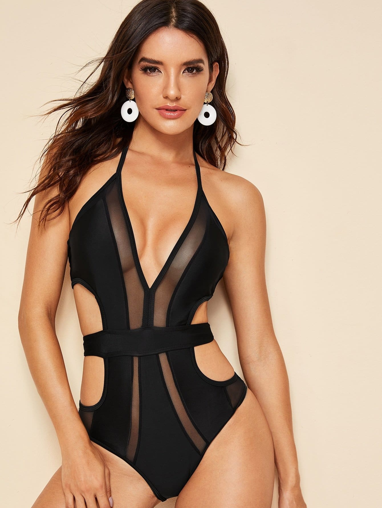 Contrast Mesh Halter One Piece Monokini - S - One Piece Swimwear