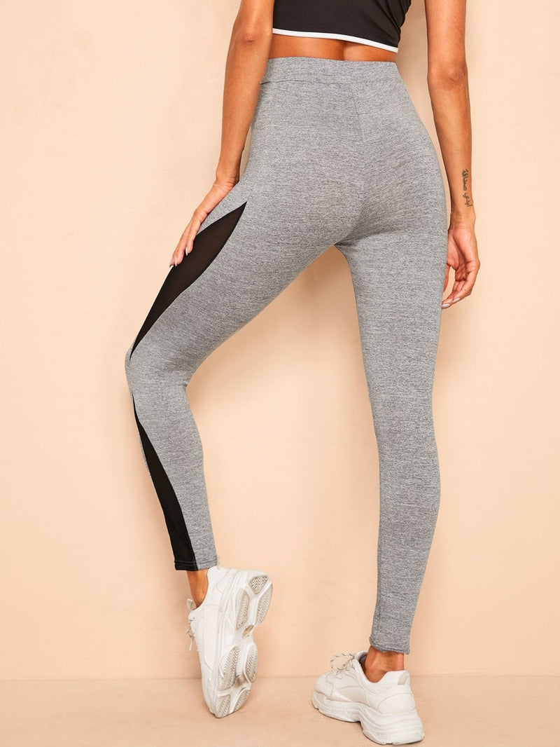 Contrast Mesh Marled Leggings - S - Fittness Leggings