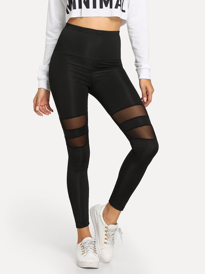 Contrast Mesh Solid Leggings - Fittness Leggings