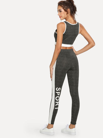 Contrast Panel Sporty Bra And Leggings Set - Sportsuit
