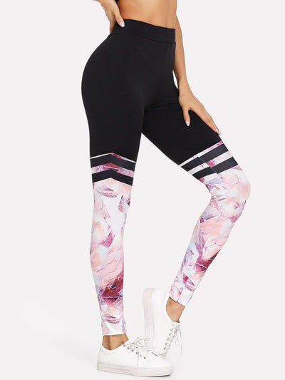 Contrast Panel Varsity-Striped Leggings - Fittness Leggings