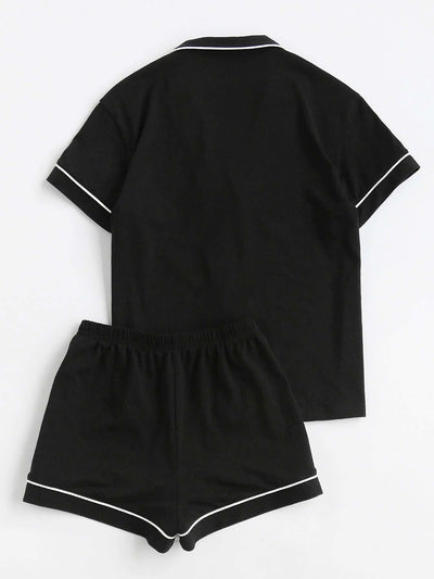 Contrast Piping Pocket Front Pajama Set - Nightwears