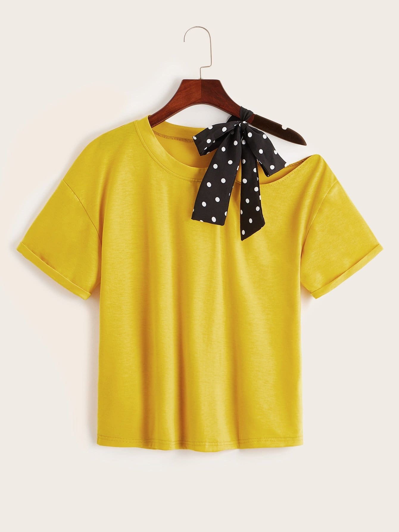 Contrast Polka Dot Tape Open Shoulder Tee - S - Shirts