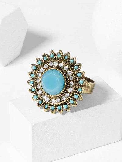 Contrast Round Gemstone Ring 1pc - Blue - Rings