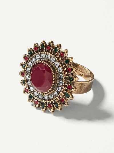 Contrast Round Gemstone Ring 1pc - Rings