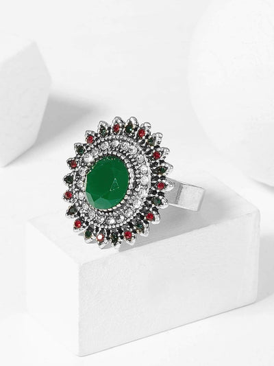 Contrast Round Gemstone Ring 1pc - Green - Rings
