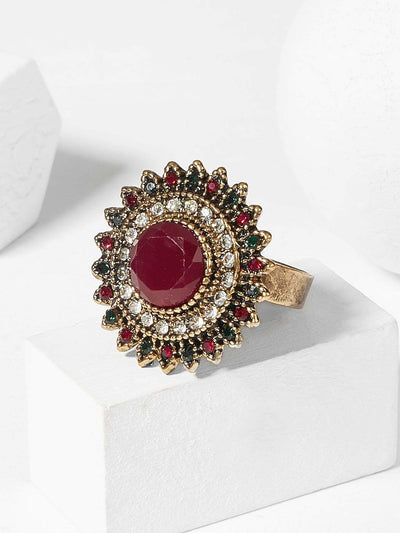 Contrast Round Gemstone Ring 1pc - Red - Rings