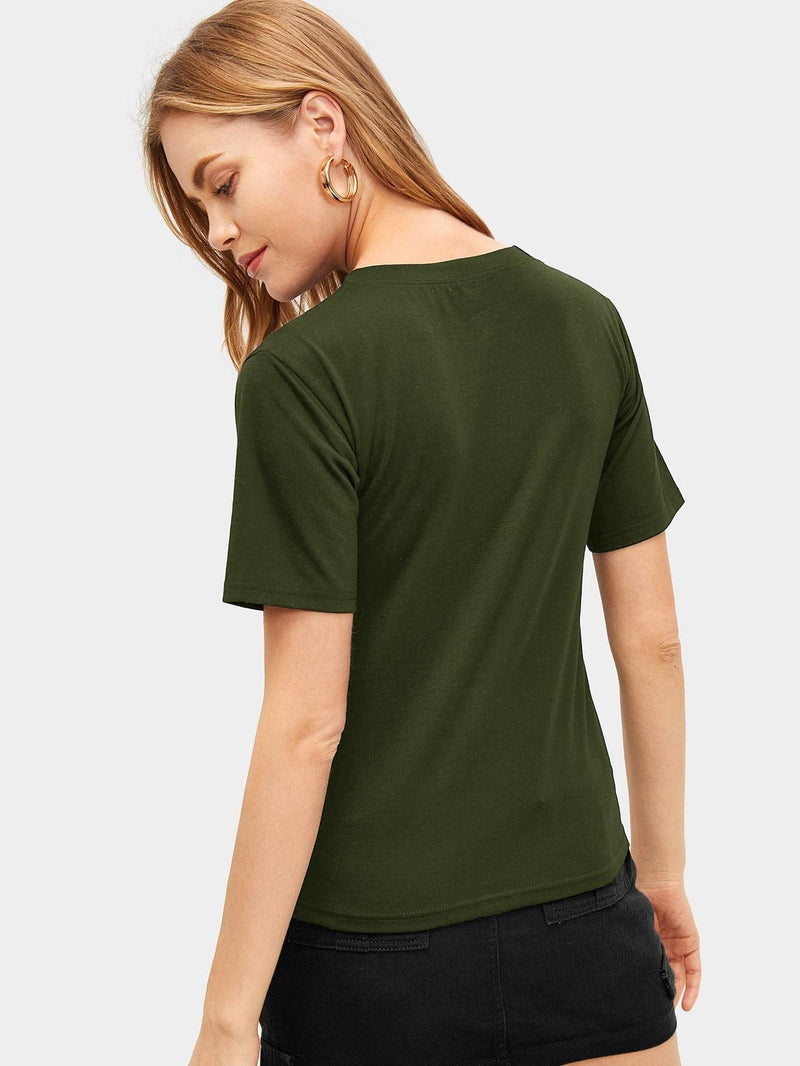 Contrast Sequin And Leopard Tee - Army green / S - Shirts