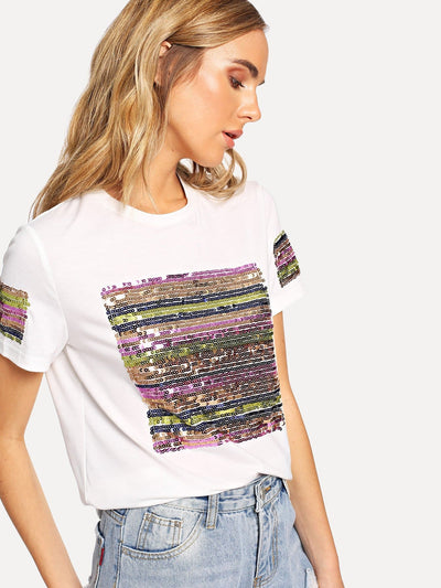 Contrast Sequin Solid Tee - Shirts