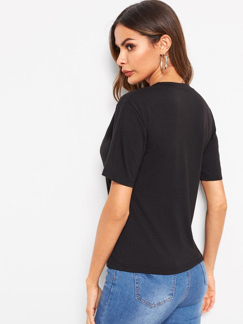 Contrast Sequin Tee - S - Shirts