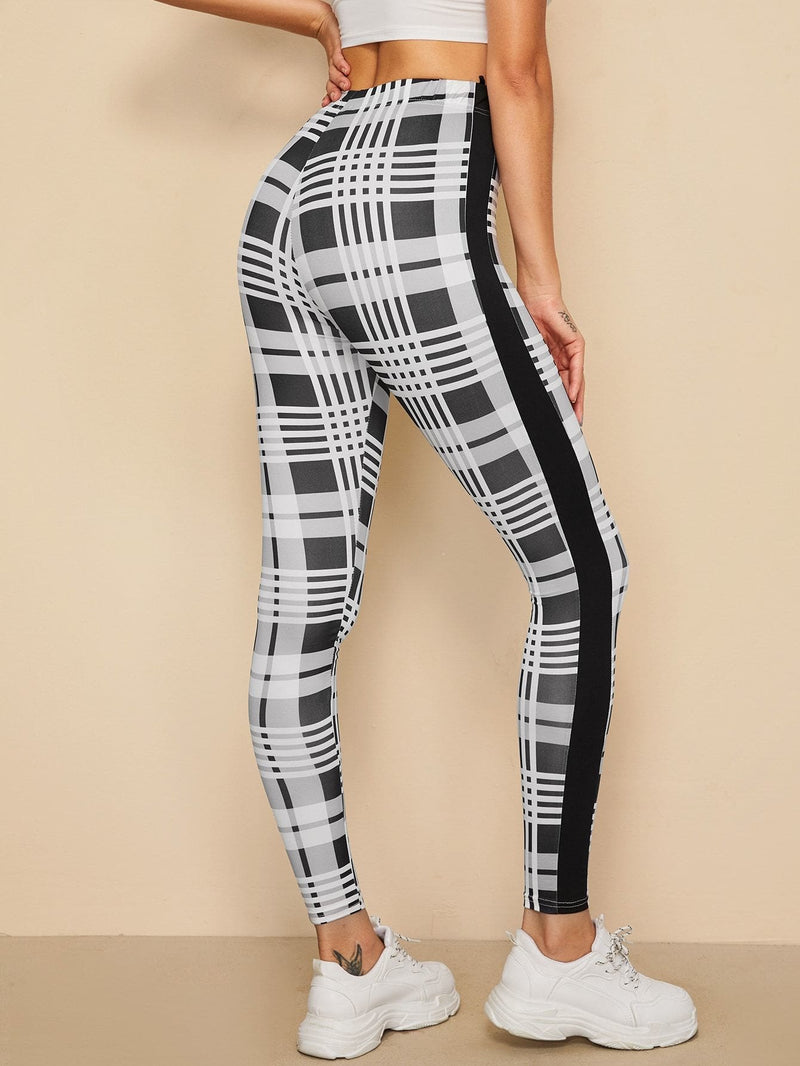 Contrast Sideseam Plaid Leggings - S - Fittness Leggings