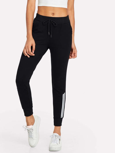 Contrast Striped Drawstring Waist Pants - Fittness Leggings