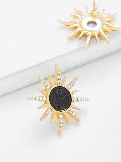 Contrast Sun God Stud Earrings - Earrings