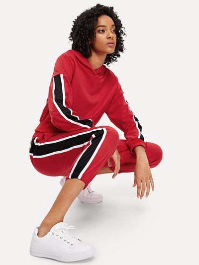 Contrast Tape Side Crop Hoodie And Pants Set - Sportsuit