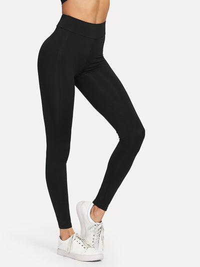 Contrast Tape Side Letter Print Leggings - Fittness Leggings