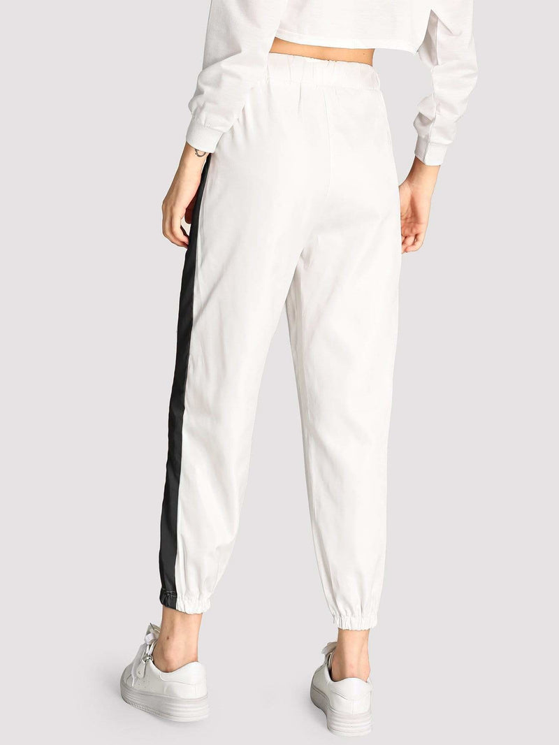 Contrast Trim Pants - Fittness Leggings