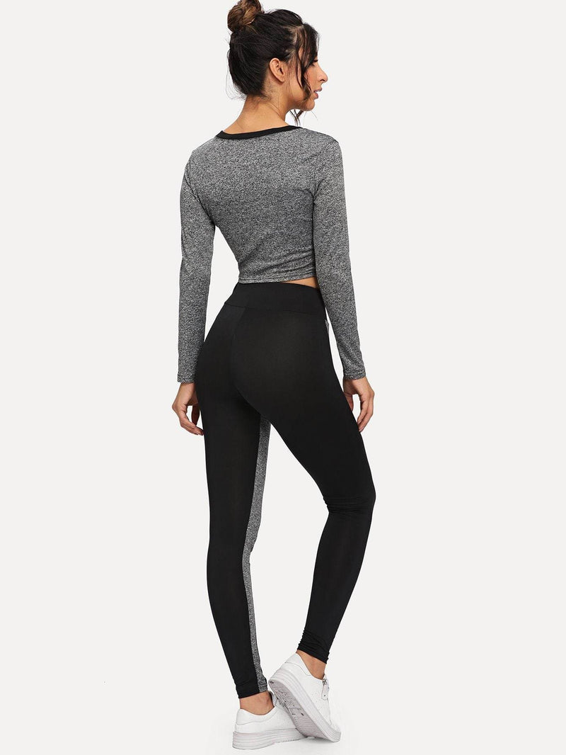 Contrast Trim Top With Leggings - Sportsuit