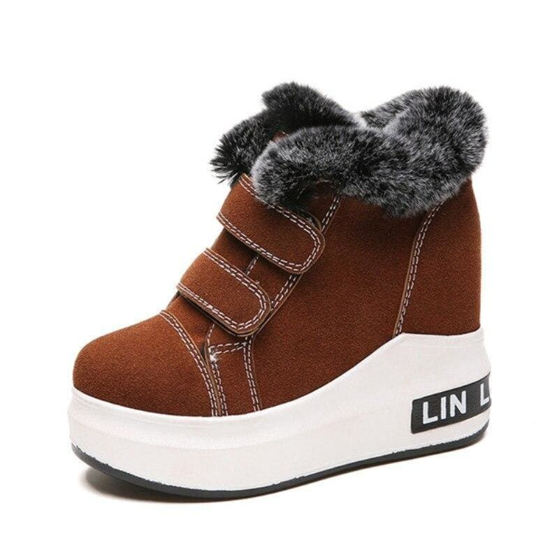 Cow Suede Warm Platform Boots - Brown / 5 - Womens Sneakers