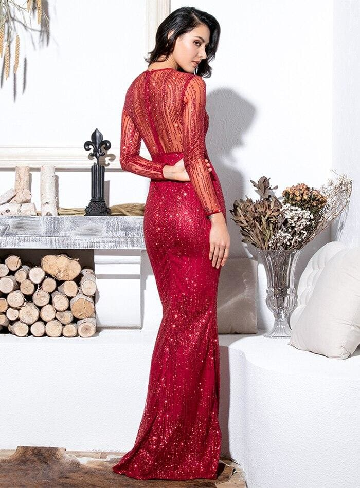 Crimson Perspective Back Prom Glitter Glued Material Maxi Dress