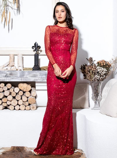 Crimson Perspective Back Prom Glitter Glued Material Maxi Dress - Dresses