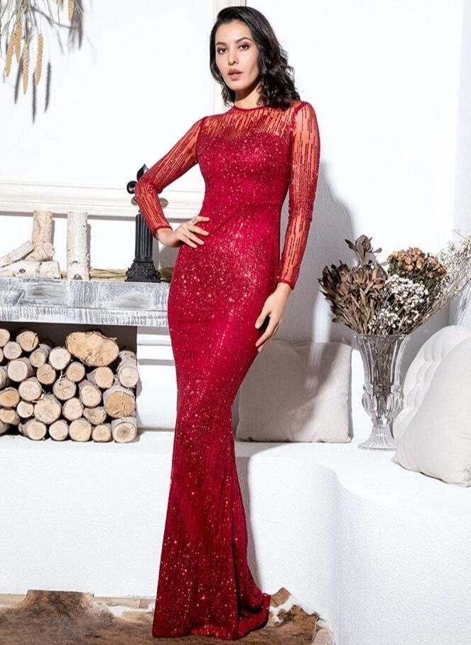 Crimson Perspective Back Prom Glitter Glued Material Maxi Dress - RED / XS - Dresses