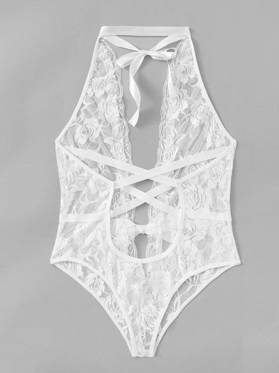 Criss Cross Deep-V Teddy Bodysuit - Lingerie