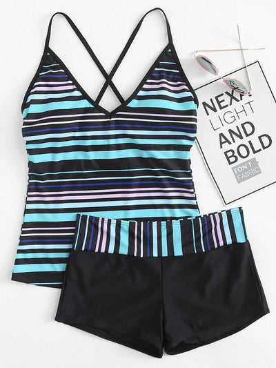 Criss Cross Striped Tankini Set - Bikini
