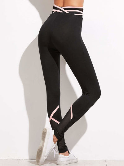 Crisscross Mesh Waist And Back Leggings - Fittness Leggings