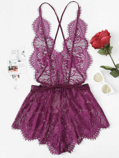 Crisscross Open Back Eyelash Lace Teddy Bodysuit - Lingerie